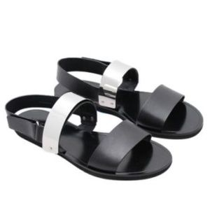 "VINCE Leather Metal Plate ""Ciara"" Sandals Slingbac"